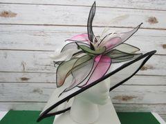 Black, White, Pink & Green Spring Dress Hat
