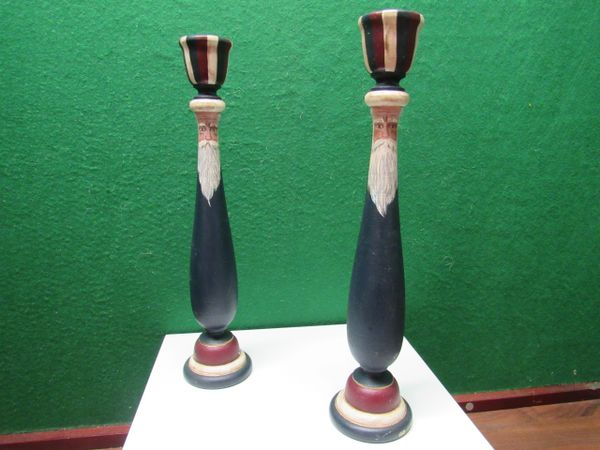 Handpainted Uncle Sam Candlestick Holders
