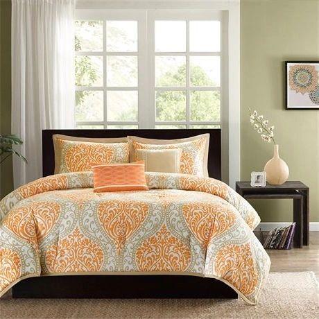 King Or California King Orange Damask Print Comforter Set