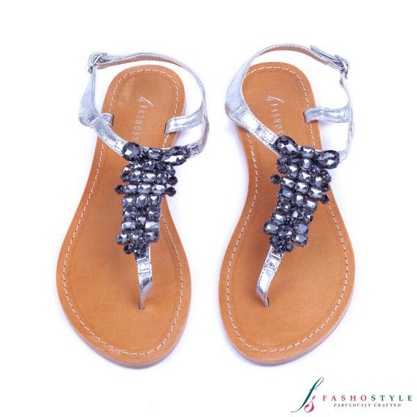 Silver Genuine Genuine Silver Leather Genuine Leather Silver Diamante Sandals Diamante Sandals Leather R3AS54qcjL