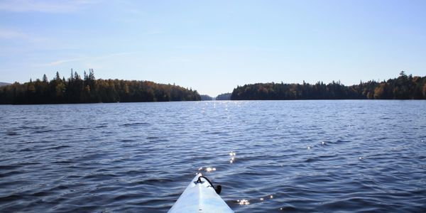 Waterfront lot for sale in the Laurentians, 5 acres for sale on an island, Nominingue, Quebec.