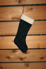 Wool Christmas Navy and Green Plaid