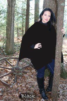 Ladies Poncho Black