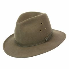 Short Brim Grayling Wool Fedora Loden/Brown