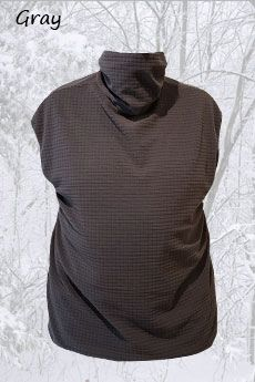 Mid Weight Vest with neck Gater Gray