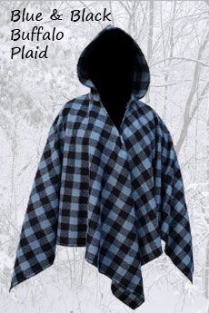 Womens Poncho Blue & Black Buffalo Plaid
