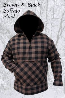 Wool Hoodie Brown & Black Buffalo Plaid