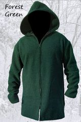 Long Wool Blanket Coat Forest Green