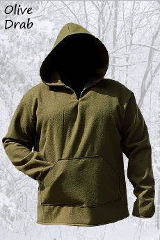 Basic Wool Hoodie Olive Drab