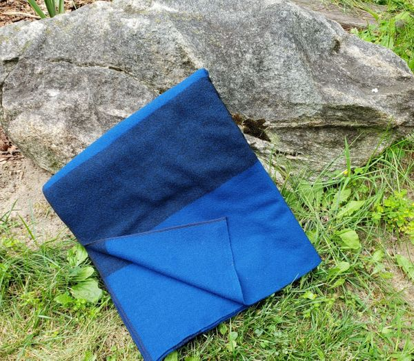 Black and Royal Blue Camp Blanket 72x60