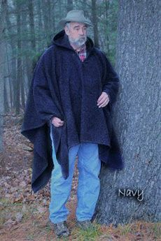 Tall Poncho Navy Blue Blanket Weight