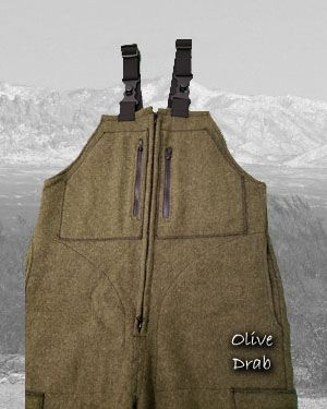 Olive Drab Wool Bibs 100% wool (2 to 3 week delay)