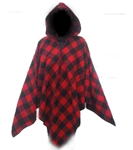 Wool Poncho Red and Black Buffalo Plaid