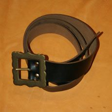 Leather Belt w/Antique Brass Buckle