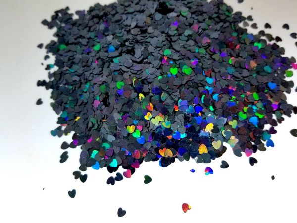 Holographic Shape Glitter! - Black Hearts