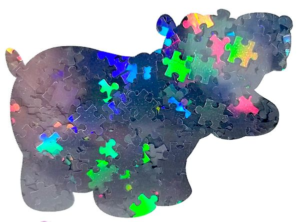 Holographic Shape Glitter! - Black Puzzle Pieces