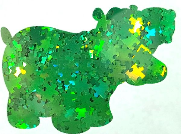 Holographic Shape Glitter! - Green Puzzle Pieces