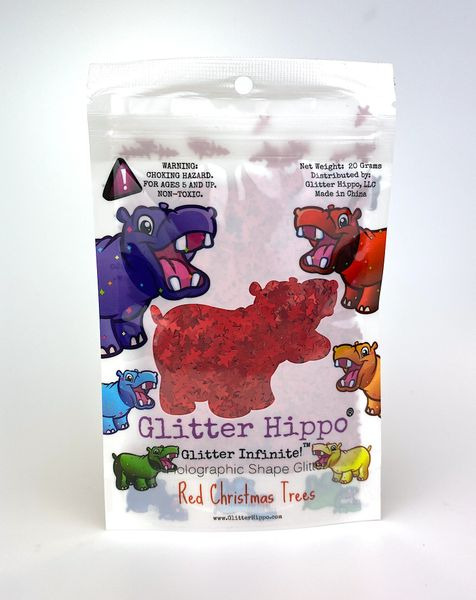 Holographic Shape Glitter - Red Christmas Trees