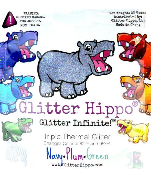 Triple Thermal Glitter - Navy/Plum/Green