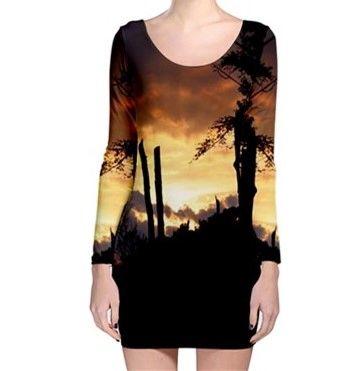 Yelloe Sunset Sillouette Long Sleeve Bodycon Dress
