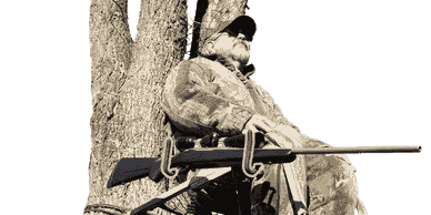 Hunter sitting in a tree stand with an adjustable Gun Holder attached to his stand within arms reach