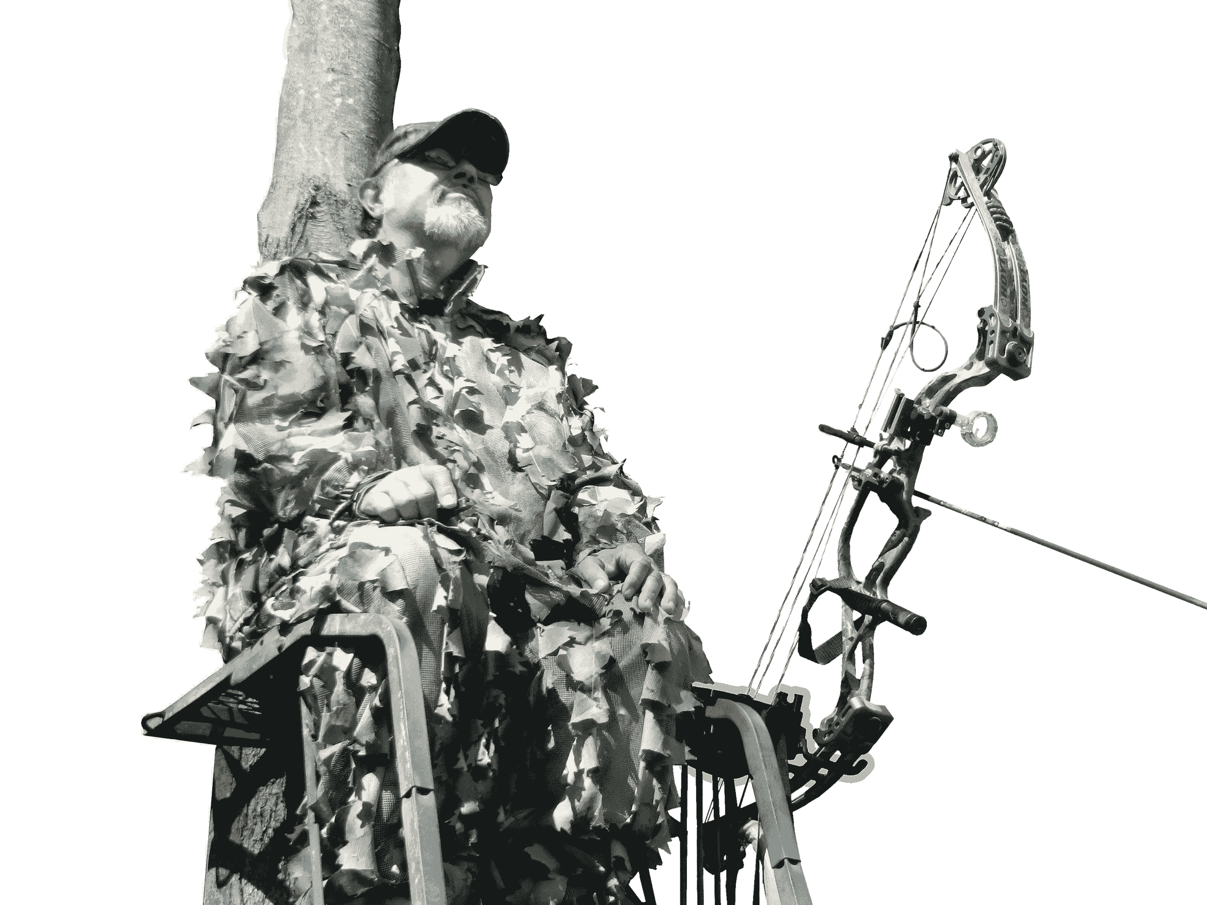 Hunter sitting in a tree stand with his bow in an adjustable Bow Holder attached to his stand