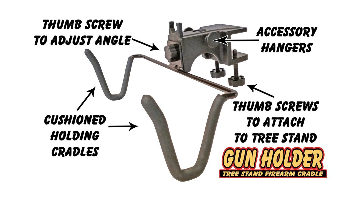 A Diagram of an adjustable Gun Holder for a tree stand that goes on and off with NO TOOLS