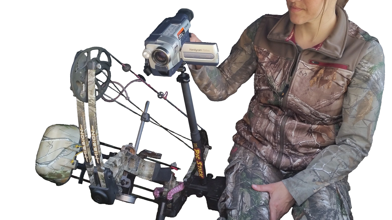 A hunter using a video camera on a Pic Stick attachment and a Bow Holder attached to her blind chair