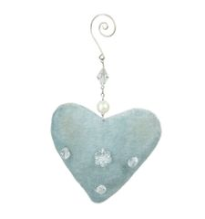 Vintage blue fabric heart