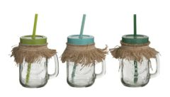 Funky Glass Mason Jar with straw