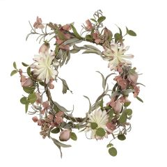 Pink and white flower wreath