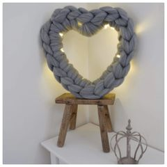 Chunky Grey Knitted Hearts