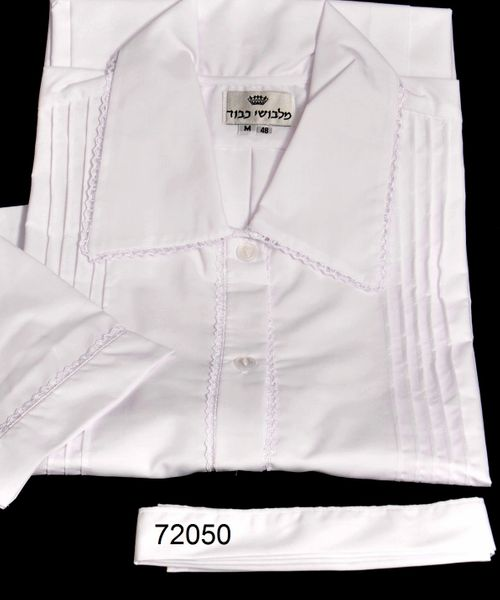 """FULL CUSTOM DESIGNED KITTEL WITH PLEATS AND LACE / KITTEL 72050 1/3"""" LACE, 5 SMALL TUCK"""