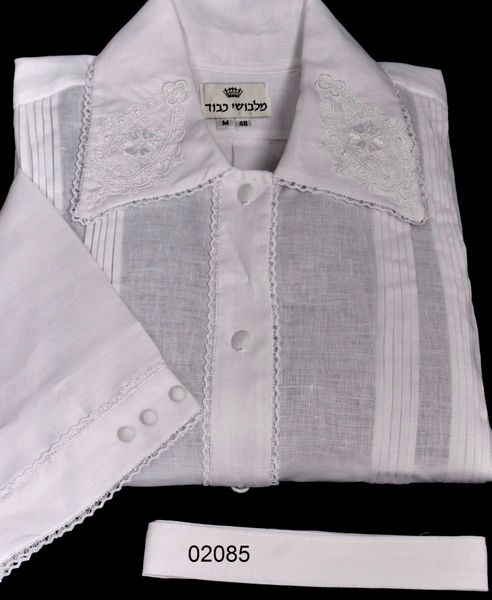 """FULL CUSTOM DESIGNED KITTEL WITH PLEATS AND LACE / KITTEL 02085 1/3"""" LACE, EMBLEM ON COLLAR"""
