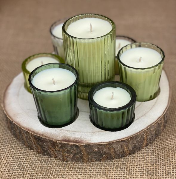 Paulownia Wood Tray w/ 7 Glass Votive Candles