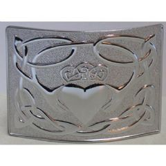 Chrome Claddagh Belt Buckle