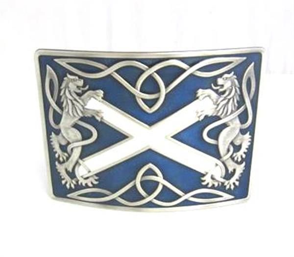 Highland Saltire Blue Enamel Buckle - Antique