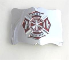 Fire Department Belt Buckle - Red on Chrome