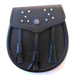 Grain Leather Sporran with Embossed Lid and Studs