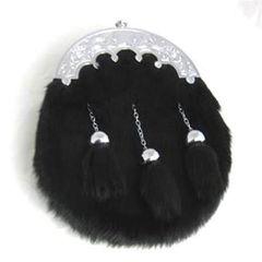 Black Rabbit Dress Sporran with Straight Chain Tassels