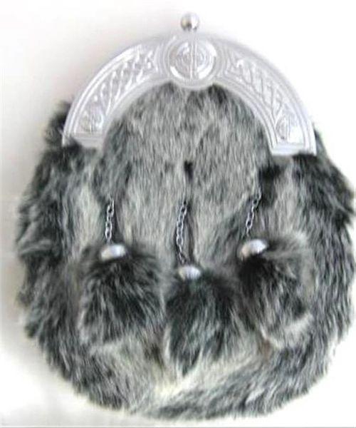 Faux Artic Wolf Dress Sporran with Straight Chain Tassels