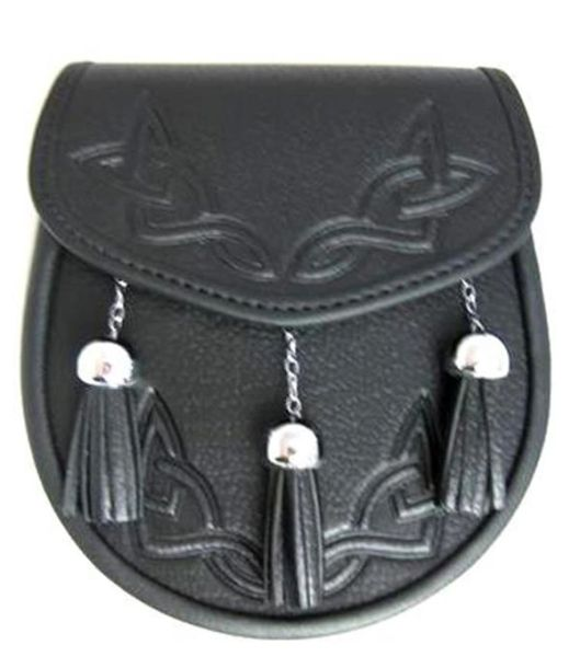 Leather Sporran with Embossed Front and Chain-Link Tassels