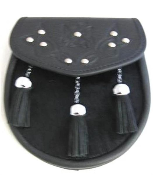 Leather Sporran with Embossed, Studded Flap and Chain-Link Tassels