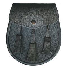 Economy Leather Sporran with 3 Tassels