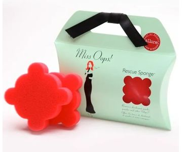 Miss Opps Rescue Sponge eliminates blemishes on your clothing due to Anti-persisperant or Deoderant or Powder Stains