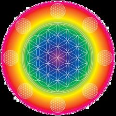 Rainbow Flower of Life Card