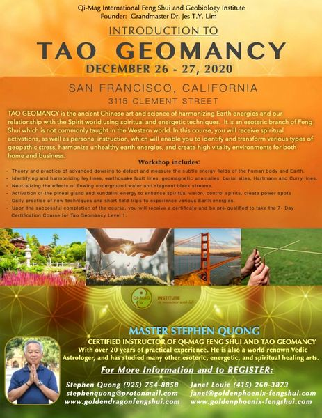 "Weekend Workshop: ""Introduction to Tao Geomancy"" 26-26 December 2020, San Francisco, California"