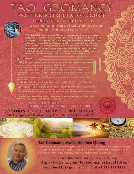 7-Day Tao Geomancy Level 1 Certification Course (to be scheduled in 2021)
