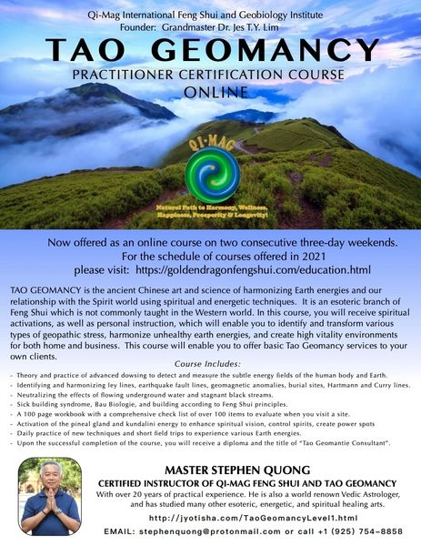 7-Day Tao Geomancy Level 1 Certification Course (online or in-person)