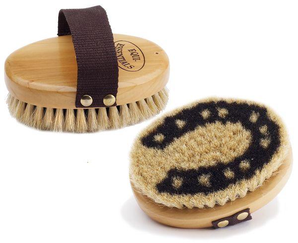 Wood Back Horseshoe Body Brush with Horse Hair